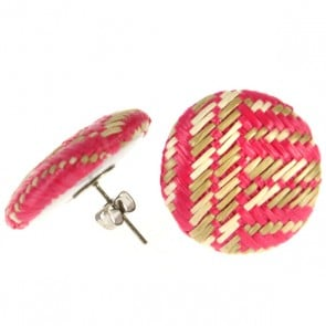 Atida Exclusive Pink Woven Statement Earrings