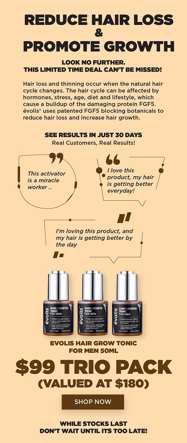 Evolis Hair Grow Tonic For Men 50ml Trio Value Pack