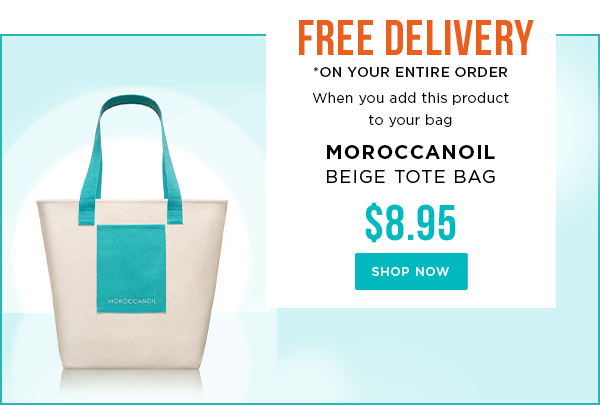 Free delivery when you purchase this Moroccanoil Bag